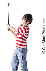 debout sac blanc golf enfant gar on peu golf isol. Black Bedroom Furniture Sets. Home Design Ideas