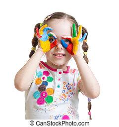 enfant, vieux, peint, peintures, mains, quatre, couleur, année, girl