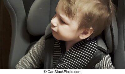 enfant, vilain, siège, voiture