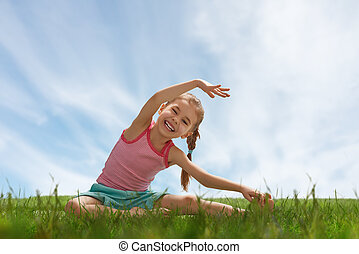 enfant, yoga, pratiquer