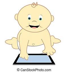 enfantqui commence à marcher, à, informatique, tablette