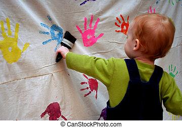 enfantqui commence à marcher, peinture