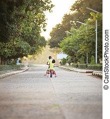 enfants, à, leur, vélos