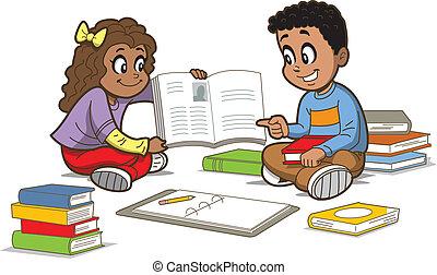 enfants, à, livres