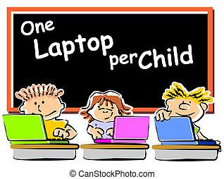 enfants, à, portables, à, école