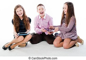 enfants, à, tablette, ordinateurs