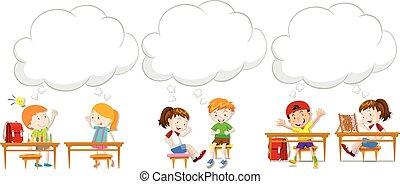 enfants, à, vide, parole, bulles