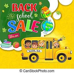 enfants, école, action, autobus, dos