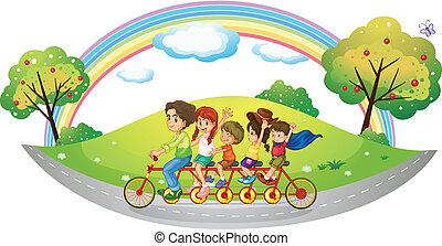 enfants, équitation, dans, a, vélo