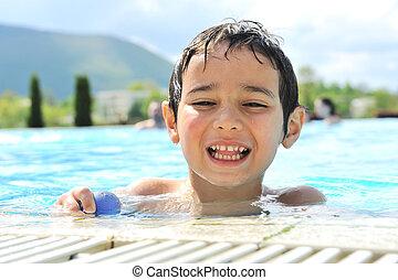 enfants, activités, dans, piscine