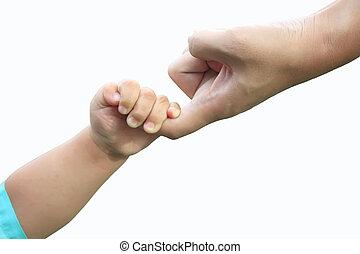 enfants, adulte, tenant mains