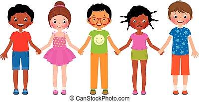 enfants, amis, tenant mains, isol