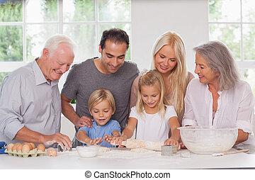 enfants, amusant, cuisson