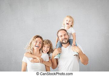 enfants, amusement, parents, maison, avoir