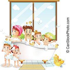 enfants, bain