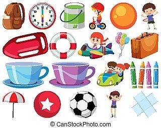 enfants, balles, isolé, objets, ensemble
