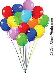 enfants, ballons, coloré, fête