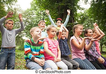 enfants, banc, parc, groupe