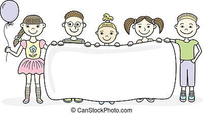 enfants, bannière, dessin animé, vide, tenue