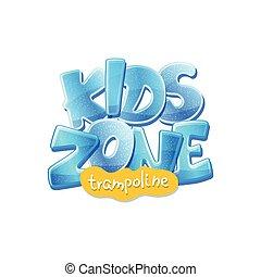 enfants, bannière, zone, cour de récréation, illustration, trampoline, vecteur, isolated., gosses