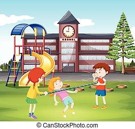 enfants, barre, jouer, cour de récréation