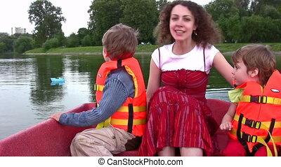 enfants, bateau, mère