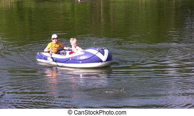 enfants, bateau