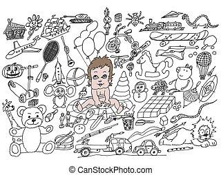 enfants, beaucoup, dessins, jouets, ensemble