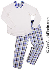 enfants, blanc, isolé, fond, pajamas.