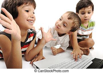 enfants, blanc, jouer, groupe