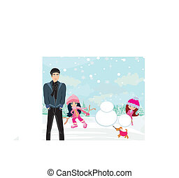 enfants, bonhomme de neige, bâtiment