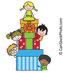enfants, cadeau, paquets
