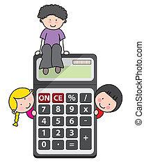 enfants, calculatrice