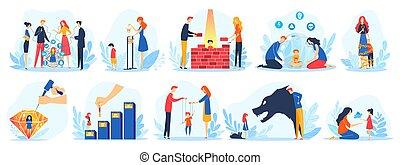 enfants, caractères, communication, enfant, parenting, problématique, mère, père, vecteur, ensemble, problèmes, dessin animé, illustration, parents, avoir