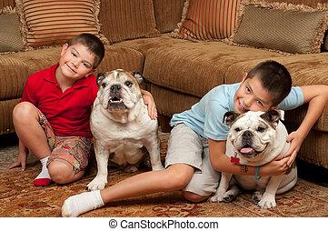 enfants, chiens