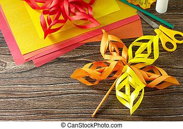 enfants, children., project., feuilles, papier, coloré, bois, arrière-plan., automne, métiers, art