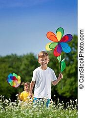 enfants, coloré, girouette