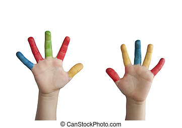 enfants, coloré, hands.