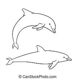 enfants, coloration, dauphin, livre