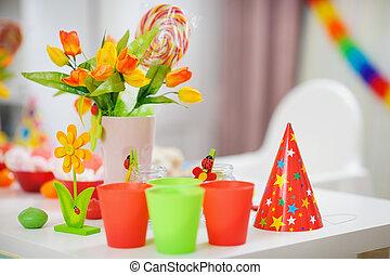 enfants, décoré, closeup, table, fête