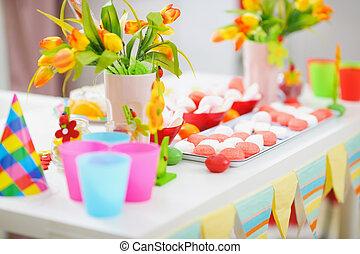 enfants, décoré, vacances, closeup, table