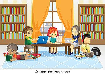enfants, dans, bibliothèque