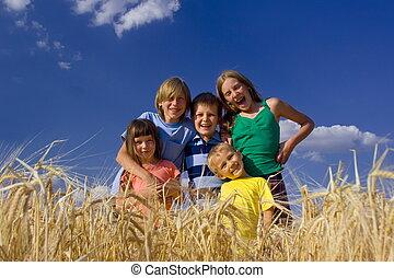 enfants, dans, céréale