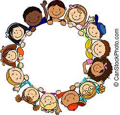 enfants, dans, cercle, fond blanc