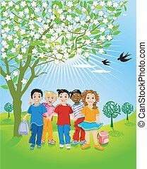 enfants, dans, nature