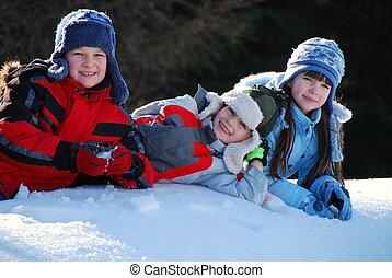 enfants, dans, neige
