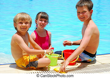enfants, dans, piscine