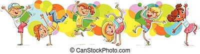enfants, danse, breakdanceon, les, couleur d'arrière-plan, pulvérisation