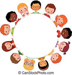 enfants, de, amis, de, monde