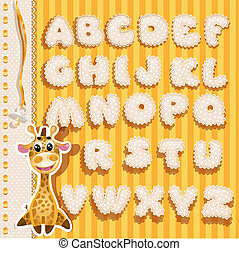 enfants, dentelle, alphabet